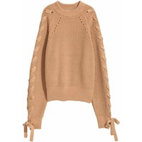 H&M Sweter ze sznurowaniem 0545264004 Ciemnobeżowy