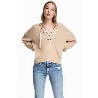 H&M Sweter ze sznurowaniem 0541270001 Jasnobeżowy