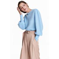 H&M Sweter z domieszką moheru 0534220001 Jasnoniebieski