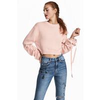 H&M Sweter ze sznurkiem 0571758001 Pudroworóżowy
