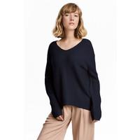 H&M Kaszmirowy sweter w prążki 0534217001 Ciemnoniebieski