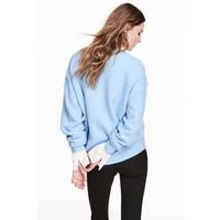 H&M Cienki sweter 0519756004 Jasnoniebieski melanż