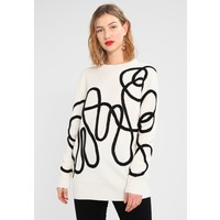 Topshop CORDED PATTERN JUMPER Sweter off-white TP721I0EA