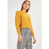 Topshop CROP CABLE Sweter mustard TP721I0BQ