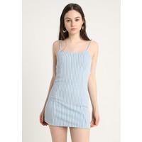 Topshop GINGHAM TIE BACK MINI Sukienka dzianinowa blue TP721C0Y5