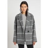 AllSaints SIMI CHECK COAT Krótki płaszcz grey/aqua blue A0Q21U02K