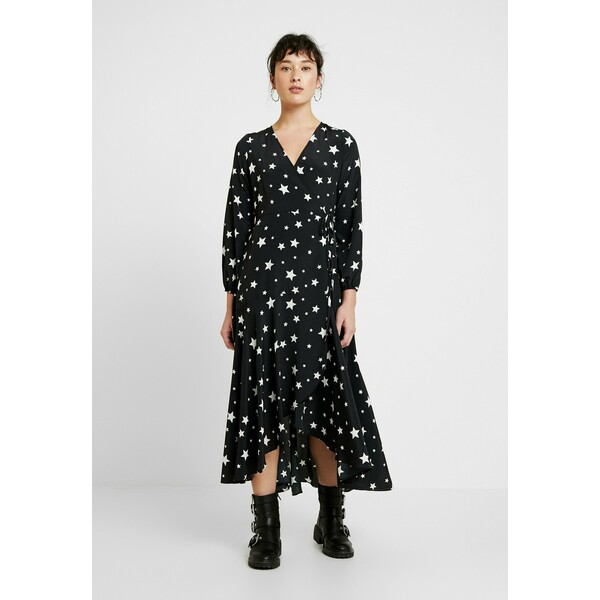Wallis Petite STAR WRAP MIDI DRESS Długa sukienka black WP021C06X