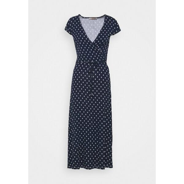 Anna Field Short sleeves wrap belted maxi dress Długa sukienka dark blue/white AN621C1N6