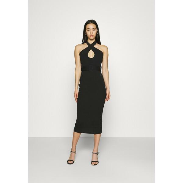 Missguided CROSS FRONT BELTED MIDI DRESS Sukienka z dżerseju black M0Q21C1XS