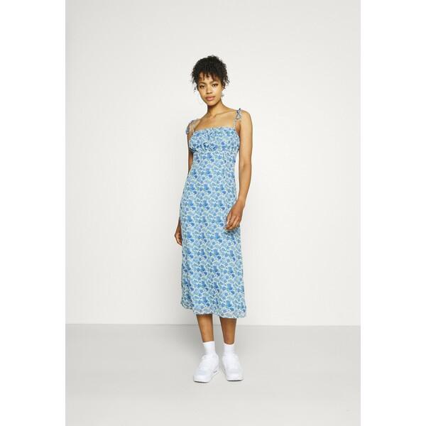 Missguided TIE STRAP RUCHED BUST MIDAXI FLORAL Sukienka letnia blue M0Q21C1ZV