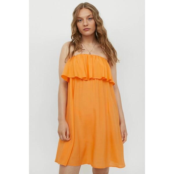 H&M Plażowa sukienka z falbaną 0967004002 Pomarańczowy