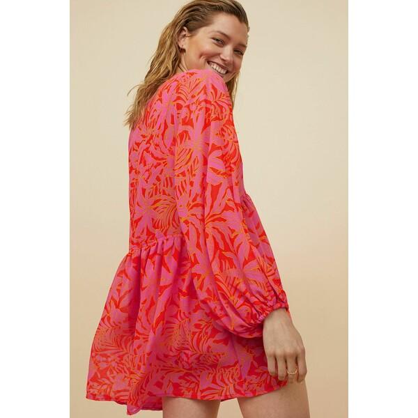 H&M Plażowa sukienka 0954513001 Wiśniowy/Nadruk liści