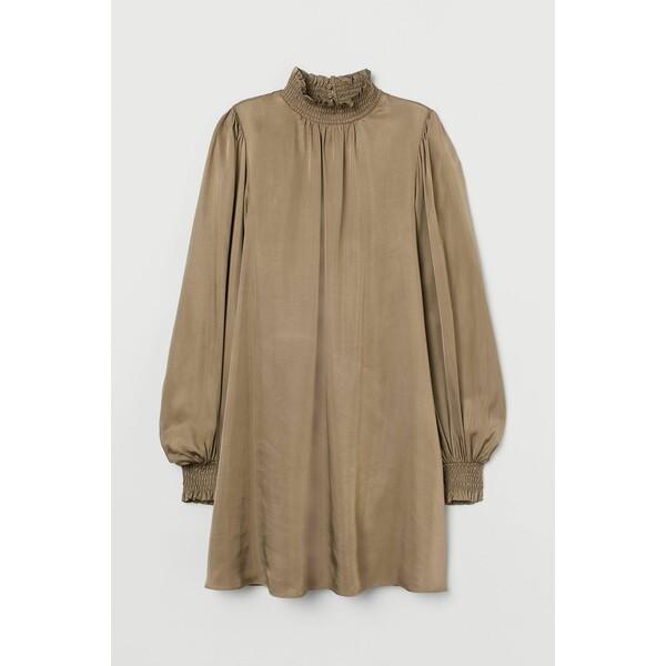 H&M Sukienka z marszczeniem 0928097003 Beżowy