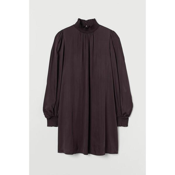 H&M Sukienka z marszczeniem 0928097003 Ciemnofioletowy