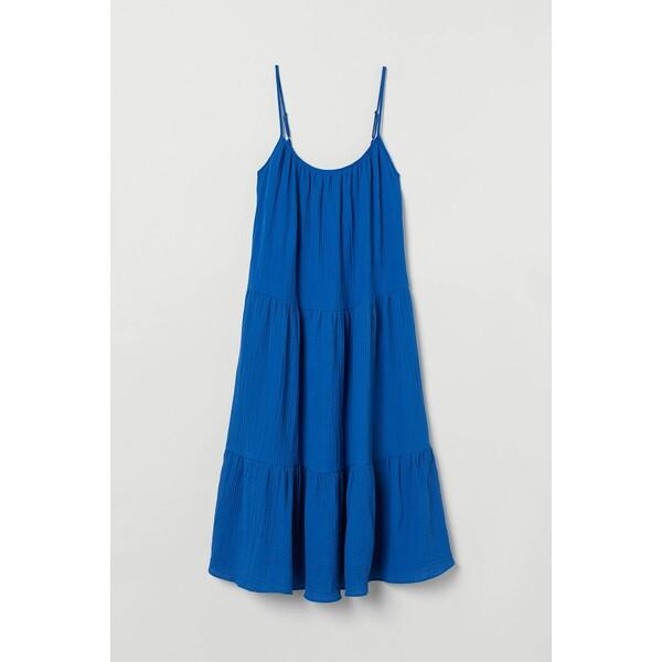 H&M H&M+ Bawełniana sukienka 0886822001 Niebieski