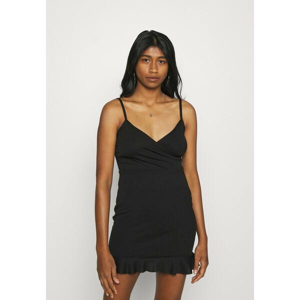 Missguided WRAP CAMI RUFFLE MINI DRESS Sukienka koktajlowa black M0Q21C1XH