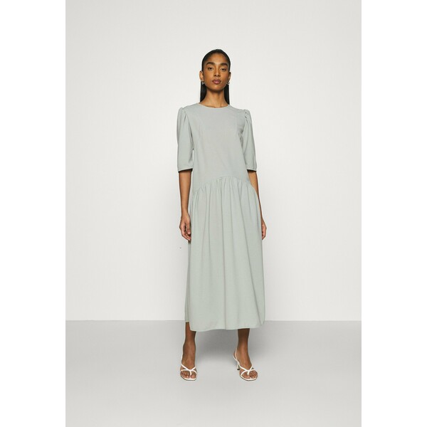Missguided CURVED WAIST SMOCK DRESS Długa sukienka khaki M0Q21C1TY