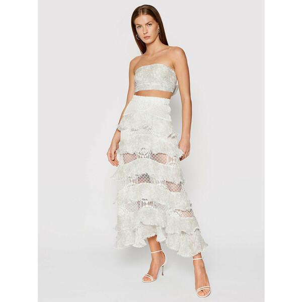IXIAH Komplet bluzka i spódnica X211-60146 Biały Slim Fit