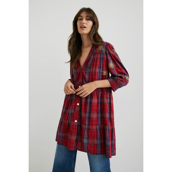 Desigual Krótka sukienka koszulowa w tartanową kratę 21WWVW773036