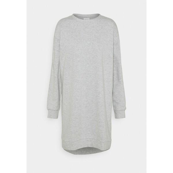 Vila VIRUST O NECK DRESS Sukienka letnia light grey melange V1021C2FL
