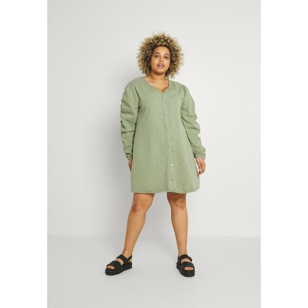 Missguided Plus V NECK BUTTON UP DRESS Sukienka letnia green M0U21C0GM