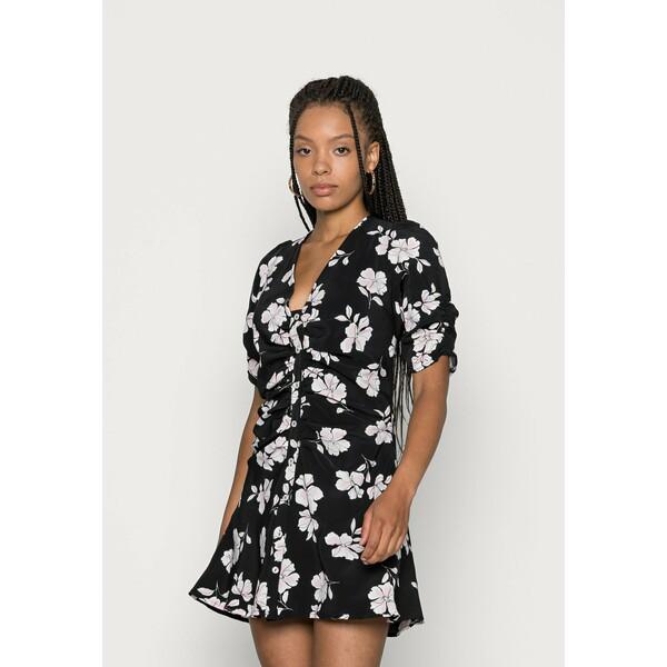 Fashion Union Petite TERESA DRESS RUCHED SLEEVE AND BODY DRESS Sukienka koszulowa black/white/pink FAE21C049