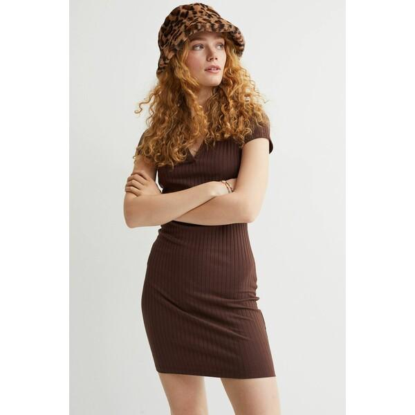 H&M Dżersejowa sukienka 0987188006 Brązowy