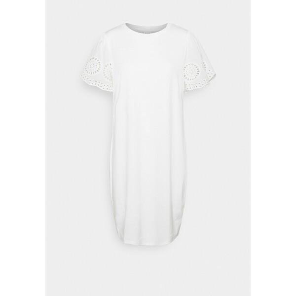 Vila VITINNY FLOUNCE DETAIL DRESS Sukienka z dżerseju snow white V1021C2GS