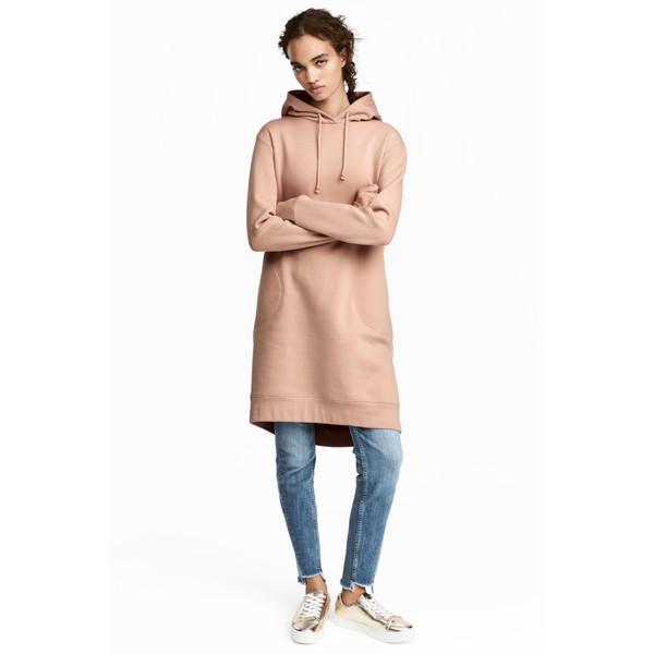 H&M Dresowa sukienka z kapturem 0485045008 Beżowy
