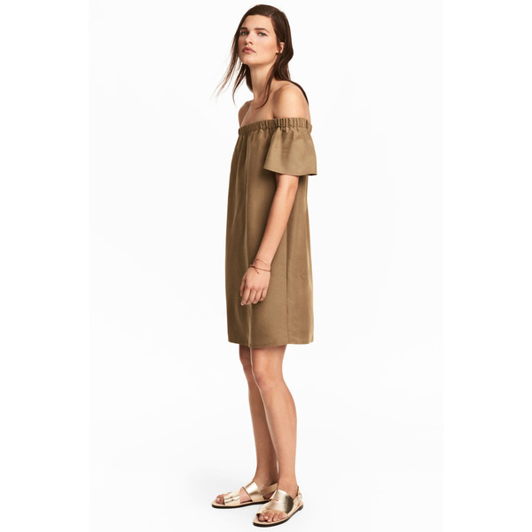 H&M Sukienka z odkrytymi ramionami 0488310001 Beżowy khaki