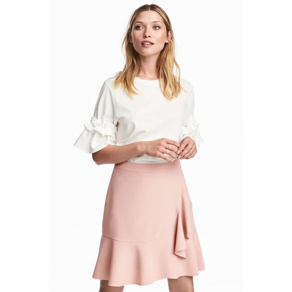 H&M Spódnica z falbaną 0501396001 Jasnoróżowy