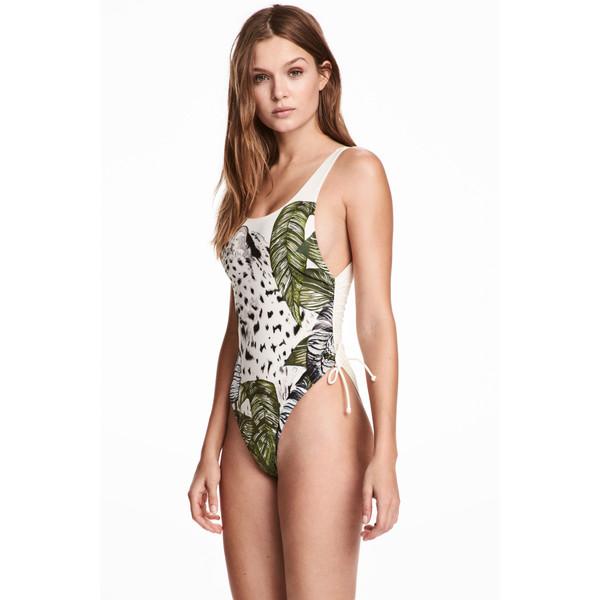 H&M Kostium kąpielowy High leg 0416619003 Naturalna biel/Liść