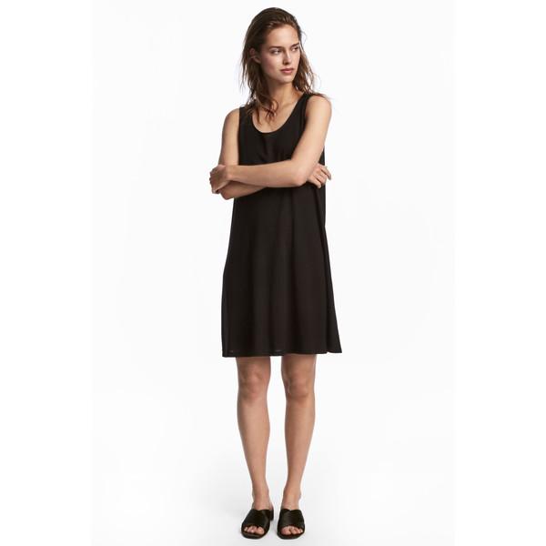 H&M Trapezowa sukienka z dżerseju 0538280005 Czarny