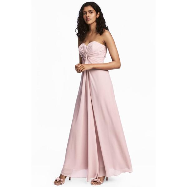 H&M Długa sukienka z szyfonu 0524297001 Pudroworóżowy