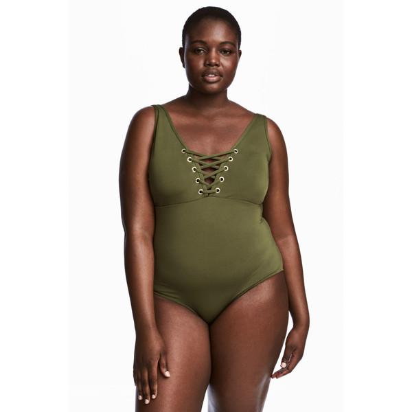 H&M H&M+ Kostium kąpielowy 0455944002 Zieleń khaki