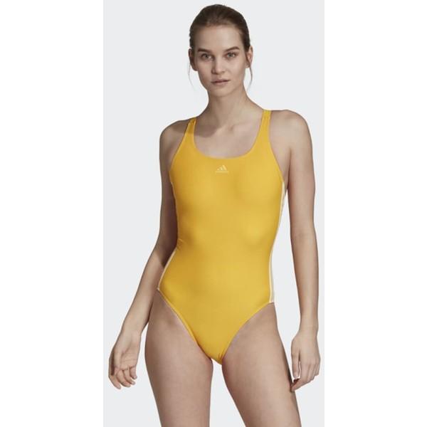 adidas Performance ATHLY V 3-STRIPES SWIMSUIT Kostium kąpielowy yellow AD581G02V