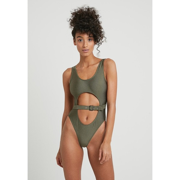 Missguided CUT OUT BUCKLE FRONT SWIMSUIT Kostium kąpielowy khaki M0Q81G010
